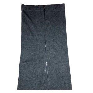 Ann Taylor Gray Knit Skit w/ Full Zipper Back